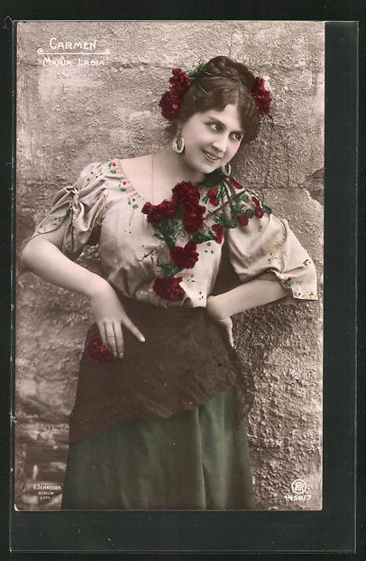 AK Opernsängerin Maria Labia in der Rolle der Carmen