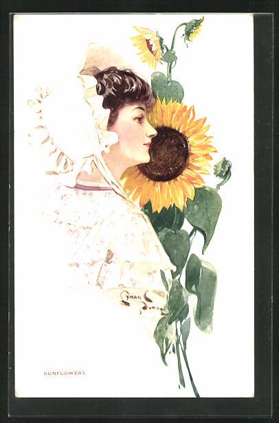 Künstler-AK sign. Powell: Frau mit weisser Haube vor Sonnenblume