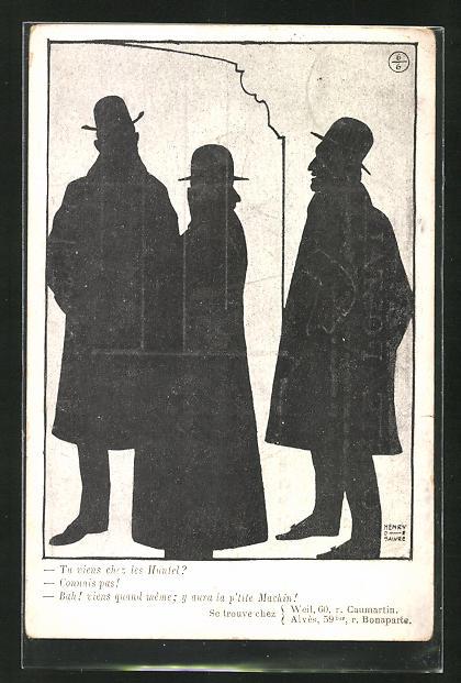 Künstler-AK sign. Henri de Saiwre: Männer im Gespräch, Scherenschnitt