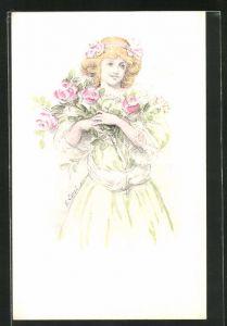 Künstler-AK sign. E. Causé: junge Dame mit Schleife im Haar und Blumen