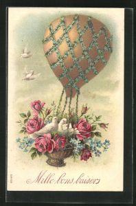 Präge-AK Mille bons Baisers, weisse Tauben in Blütenballongondel
