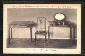 AK Grenoble, Meuble Moderne Djoukitsch, 7, rue Sidi-Brahim et 32, Coiffeuse -Chaise -Table ecritoire Platane