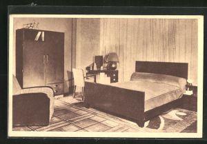 AK Paris, Au Bucheron, 10, rue de Rivoli, Art Deco Schlafzimmer, Innenansicht