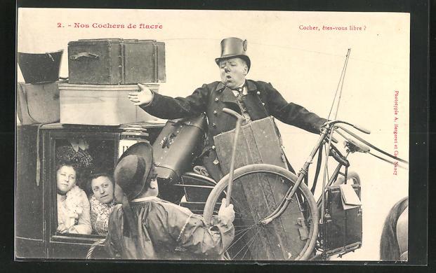 AK Cocher, etes-vous libre?, Kutscher auf einer Pferdekutsche