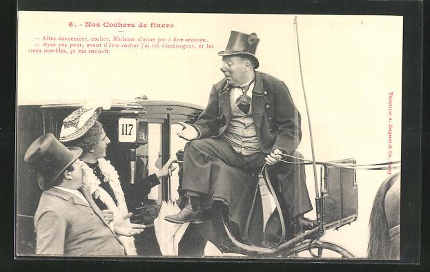 AK Allez doucement, cocher, Madame n`aime pas a etre secouee..., Kutscher auf einer Pferdekutsche