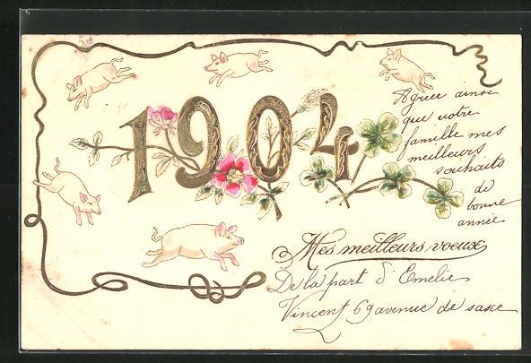 Präge-AK Glücksschweine laufen um die Jahreszahl 1904 herum