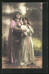 AK Parsival, Szene aus Lohengrin, Ritter und Frau blicken zum Himmel