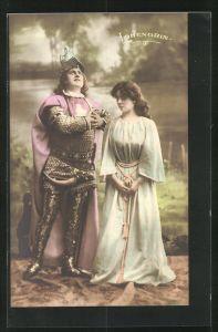 AK Parsival, Szene aus Lohengrin, Ritter gesteht der Frau seine Liebe