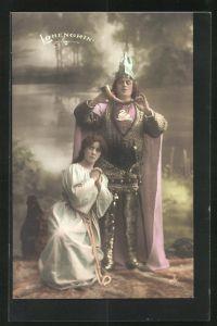 AK Parsival, Szene aus Lohengrin, Frau kniet vor dem Ritter