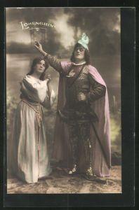 AK Parsival, Szene aus Lohengrin, Frau und Ritter blicken zum Himmel