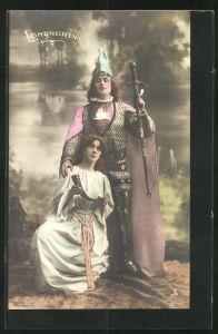 AK Parsival, Szene aus Lohengrin, Frau kniet vor dem Ritter und blickt zum Himmel