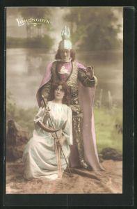 AK Parsival, Szene aus Lohengrin, Frau kniet mit dem Schwert vor Lohengrin