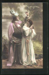 AK Parsival, Szene aus Lohengrin, Frau betrachtet Lohengrin