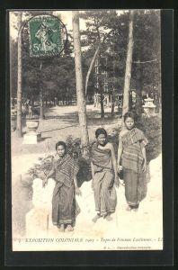 AK Exposition Coloniale 1907, Types de Femmes Laotiennes, Frauen aus Laos