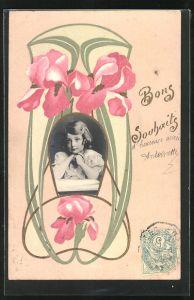 Passepartout-Präge-AK Mädchenfoto im floralen Rahmen, Jugendstil