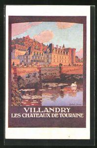 Künstler-AK Villandry, Les Chateau de Touraine, Tourismus