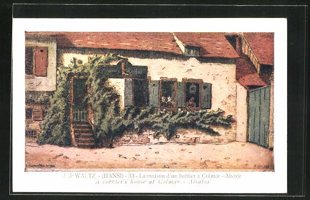 Künstler-AK Hansi: Colmar, La Maison d'un bottier a Colmar