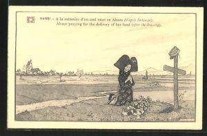 Künstler-AK Hansi: Betende Frau in Tracht am Grab eines Soldaten