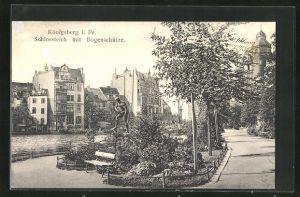 AK Königsberg, Schlossteich mit Bogenschütze