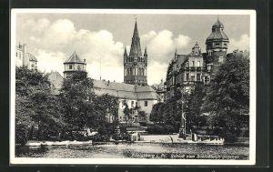 AK Königsberg, Schloss vom Schlossteich gesehen