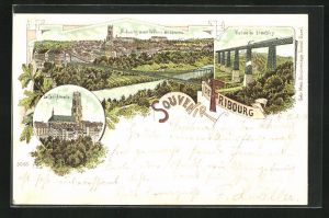 Lithographie Fribourg, La Cathédrale, le Pont suspendu, Viaduc de Grandfey