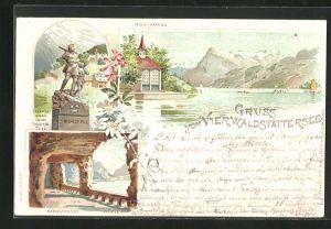 Lithographie Vierwaldstättersee, Tells-Kapelle mit Rütli und Schiller, Axenstrasse mit Blick nach Flüelen