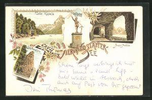 Lithographie Vierwaldstättersee, Tells-Kapelle, Tunnel-Galerie der Axenstrasse, Schillerstein
