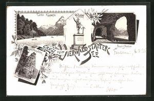 Lithographie Vierwaldstättersee, Tells-Kapelle, Schillerstein, Axenstrasse