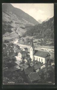 AK Amsteg, Ortspartie mit Kirche aus der Vogelschau