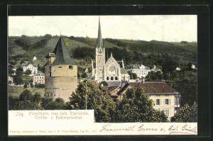 AK Zug, Pulverturm, kath. Pfarrkirche, Töchter- und Knabenpensionat