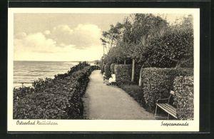 AK Neukuhren, Seepromenade mit rastenden Spaziergängern und Blick aufs Meer