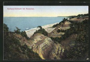 AK Rauschen, Kurhaus-Schlucht mit Blick aufs Meer und Küste