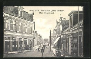 AK Delfziyl, Restaurant Stadt Emden met Waterstraat