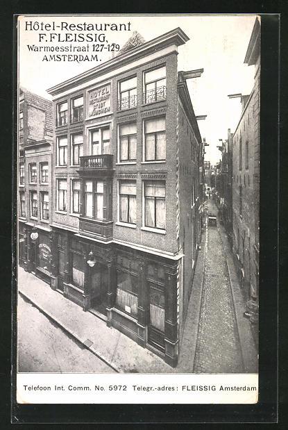 AK Amsterdam, Hotel-Restaurant von F. Fleissig, Warmoesstraat 127-129