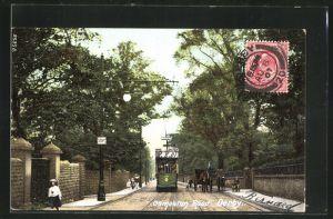 AK Derby, Osmaston Road mit Strassenbahn