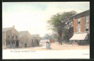 AK Southport, CT, The Square mit Häuserfassaden und Laterne