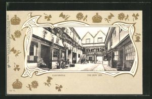 Präge-AK Gloucester, The New Inn, Kronen und Blumen golden