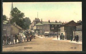 AK Bakewell, Strasse mit Pferdefuhrwerken, Passanten