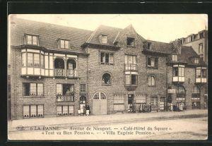 AK La Panne, Avenue de Nieuport, Cafe-Hotel du Square