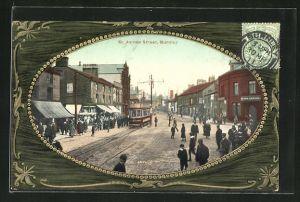 AK Burntey, St. James Street u. Passepartoutrahmen