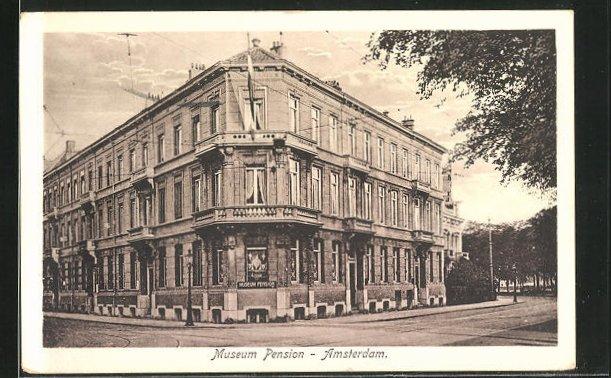 AK Amsterdam, Museum Pension, Stadhouderskade 36-37-38-39, P. C. Hooftstraat 2-4
