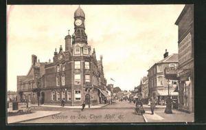 AK Clacton on Sea, Town Hall, Geschäftsfassaden, Library
