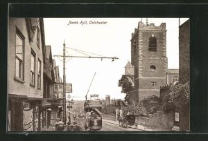 AK Colchester, North Hill, Strassenbahn