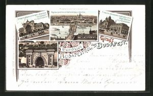 Lithographie Budapest, Kettenbrücke und Basilika, Ost-Bahnhof, Tunnel