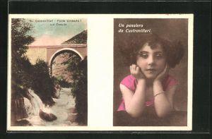AK Castrovillari, Ponte Umberto sui Coschile, Mädchen in pinkem Kleid
