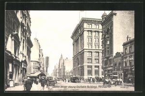 AK Melbourne, Collins Street showing Equitable Buildings, Tramway, Strassenbahn