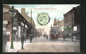 AK Nelson, Manchester Road with Tramway, Strassenbahn