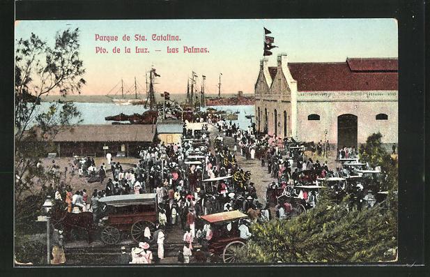 AK Las Palmas, Parque de Sta. Catalina, Menschenmenge am Hafen 0