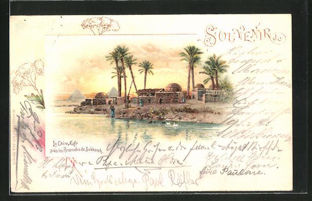 Lithographie Le Caire / Kairo, Kafr, près les Pyramides de Sakkarah 0