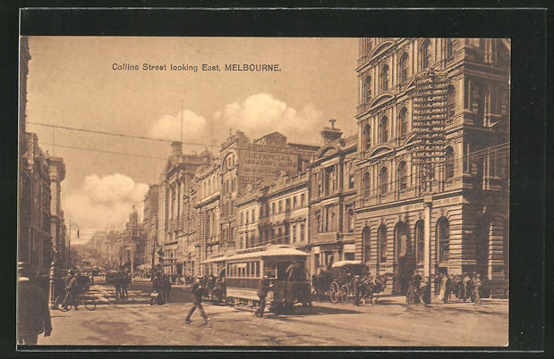 AK Melbourne, Collins Street, looking East, Strassenbahn 0